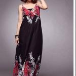siyah uzun bayan elbise modeli