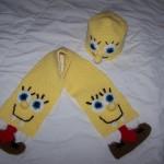 spongy bob desenli örgü bebek atkısı