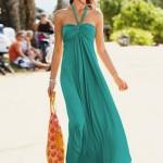 turkuaz renkli bayan uzun elbise modeli