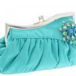 turkuaz renkli taşlı abiye çanta modeli