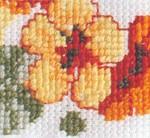 turuncu çiçek işlemeli kaneviçe örneği