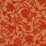 turuncu çiçek motifli döşemelik kumaş modeli
