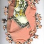 turuncu çiçekli çember oya modeli