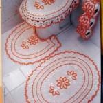 turuncu çiçekli tığ işi klozet takımı