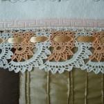 turuncu beyaz çeyizlik dantel havlu kenarı modeli
