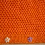 turuncu işkembe örgülü bebek battaniyesi