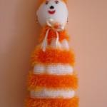 turuncu sakallı ipten örgü poşetlik modeli