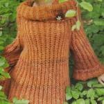 turuncu selanik örgüsü boğazlı kazak modeli