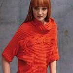 turuncu yarım boğazlı bayan kazak modeli