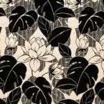 yaprak desenli siyah döşemelik kumaş modeli