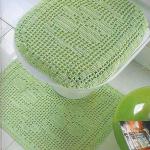 yeşil çiçek motifli tığ işi klozet takımı modeli