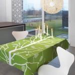 yeşil ağaç desenli masa örtüsü modeli