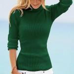 yeşil boğazlı bayan triko kazak modeli