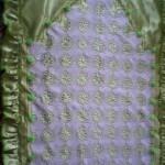 yeşil ipek kumaşlı dantel seccade modeli
