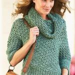 yeşil kısa kollu boğazlı bayan kazak modeli