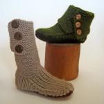 yeşil kahverengi el örgüsü çorap örnekleri