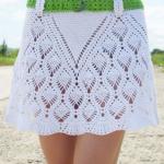 yeşil kemerli beyaz dantel örgü etek modeli