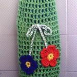 yeşil renkli çiçek desenli örgü poşetlik torbası