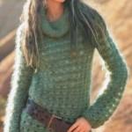 yeşil renkli fileli bayan kazak modeli