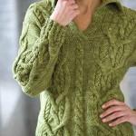 yeşil renkli saç örgü kazak modeli