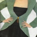 yeşil selanik örgülü kısa hırka modeli