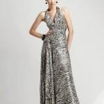 zebra desenli uzun bayan elbise modeli