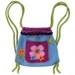 çiçek desenli örgü çocuk sırt çantası modeli