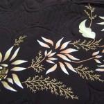 çiçek desenli kumaş boyama seccade örneği