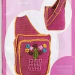 çiçek desenli pembe örgü çocuk sırt çantası modeli