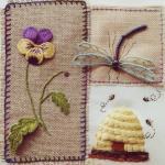 çiçek ve böcek desenli çin iğnesi nakış modeli