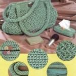 çok şık yeşil makrome çanta modeli