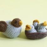 örgü anne kuş ve yavruları modeli