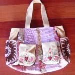 örgü ve kumaş desenli çanta modeli
