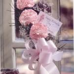 açık pembe katmerli örgü çiçek modeli