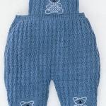ayıcıklı mavi örgü bebek tulumu