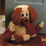 büyük kulaklı örgü oyuncak köpek modeli