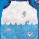 balıklı mavi beyaz örgü bebek hırkası