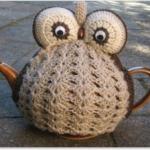 baykuş desenli örgü çaydanlık kılıfı modeli