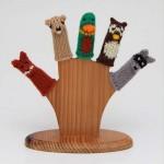 baykuş tilki figürlü örgü parmak kukla modelleri