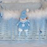 bebekli mavi erkek bebek sepeti modeli
