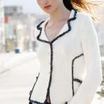 beyaz cepli abiye örgü bayan ceket modeli