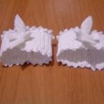 beyaz kuş desenli örgü peçet halkası modellei
