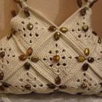 boncuklu makrome kremrengi çanta modeli