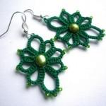 boncuklu yeşil örgü küpe modeli