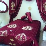 bordo maraş işi yatak örtüsü modeli