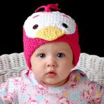 civciv desenli pembe örgü şirin bebek beresi modeli