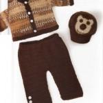 düğmeli örgü bebek pantolon ve hırkası