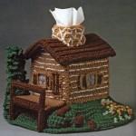 dağ evi görünümlü örgü peçetelik modeli