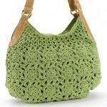 deri kulplu yeşil makrome çanta modeli