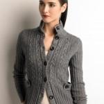 dik yakalı gri abiye örgü ceket modeli